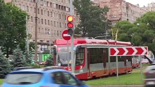 Трамвай Санкт Петербурга 9 687 71 631 02.02 УКВЗ б.5225 по №55 17.07.19