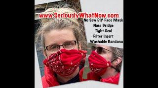 No Sew DIY Bandana Face Mask / Flexible Nose Bridge / Moisture Barrier / Filter Pocket / Washable