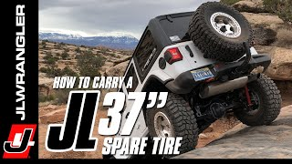"""HOW TO Carry a 37"""" Spare Tire on a Jeep JL Wrangler Tailgate : JL JOURNAL"""