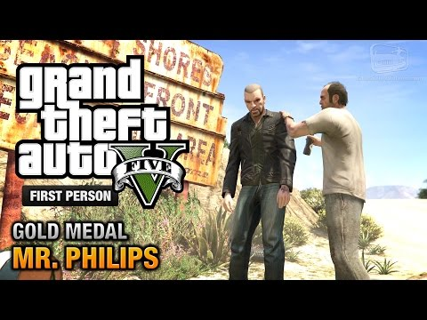 GTA 5 - Mission #17 - Mr. Philips [First Person Gold Medal Guide - PS4]