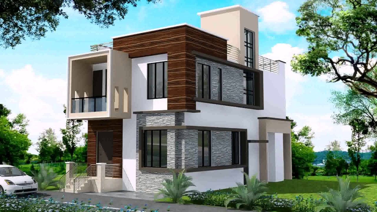 Modern duplex house designs in india youtube for Duplex house models