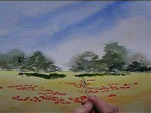 paint poppies in a cornfield in watercolour youtube