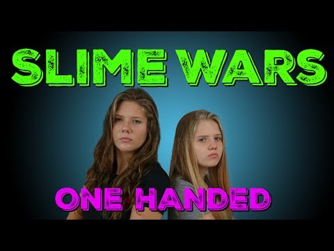 SLIME WARS: ONE HAND CHALLENGE || Taylor and Vanessa