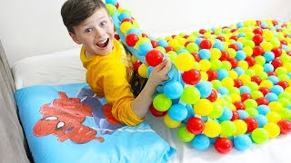 My Sister made Coloredl Balls Blanket Funny Kid Video