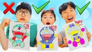 3마커 챌리지 2탄 놀이 해봤어요!! 3가지 색으로 시간안에 캐릭터 색칠놀이 완성하기! 3 MARKER CHALLENGE