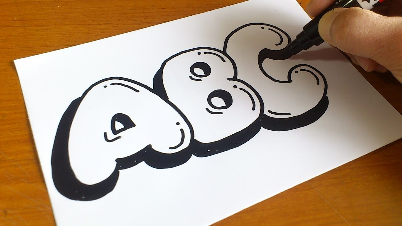Very Easy How To Draw Graffiti Bubble Letters Abc For Kids Youtube