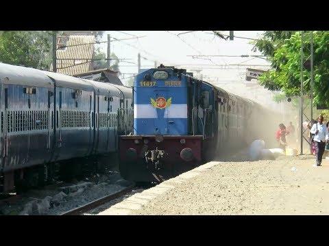 DUST STORM : POWERFUL SOUND : Vivek Express Overtakes FZR Janta Express : INDIAN RAILWAYS