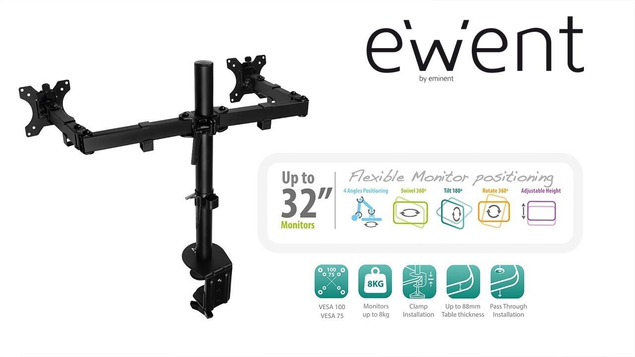 02361724c Ewent Soporte de escritorio para monitor, 2 pantallas de hasta 32 pulgadas,  negro (EW1512) - Soportes de escritorio Compra favorables en nuestra tienda  - ...