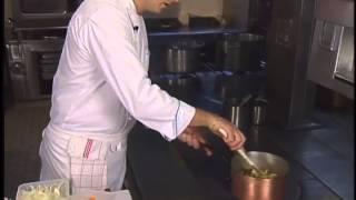 Pumpkin Soup With Cappucino Of Roasted Cumin And Duck Fois Gras Dumpling By Patrick Henriroux