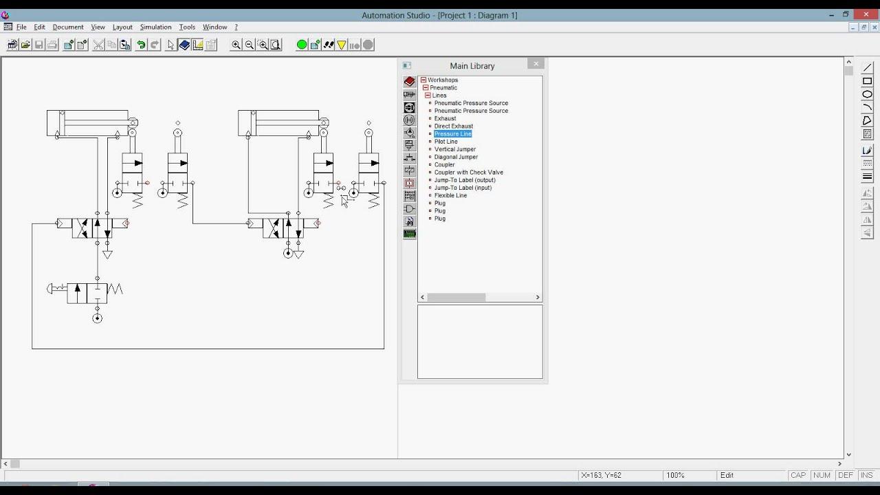 Automation Studio Pneumatic Two Actuators Continuous