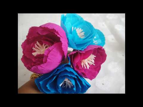How to make simple Crepe paper peony Flower ??