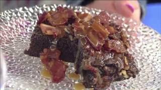 Pecan Bacon Brownies with Bourbon Caramel Sauce
