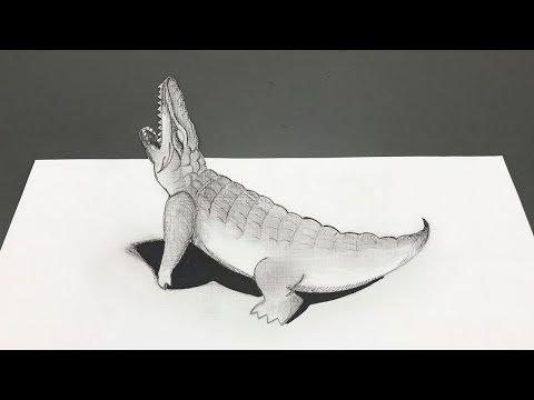 Ilusiones Opticas | Dibujando Cocodrilo 3D Realista