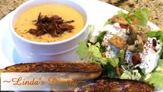 ~sweet Potato Cauliflower Cheese Soup Topped With Cajun Bacon Candy With Linda's Pantry~