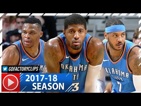 Russell Westbrook Triple-Double, Carmelo Anthony & Paul George Highlights vs Pelicans (2017.11.20)