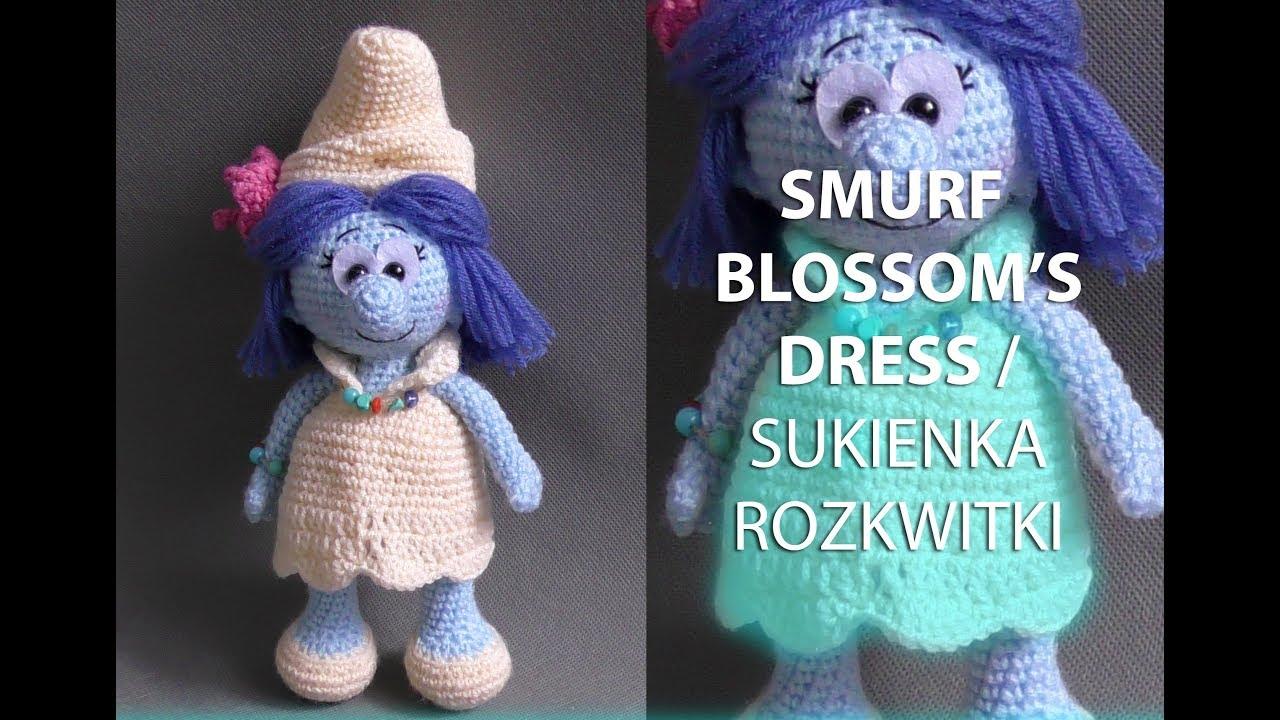 Amigurumi crochet SMURF LADIES. Part 4/5: SMURF BLOSSOM\'S DRESS ...