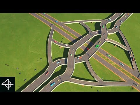 Building a Double Crossover Merging Interchange (Cities: Skylines speedbuild and showcase #4)