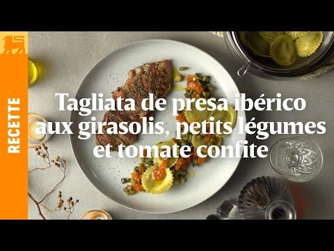 Tagliata de presa Ibérico aux girasolis, petits légumes et tomate confite