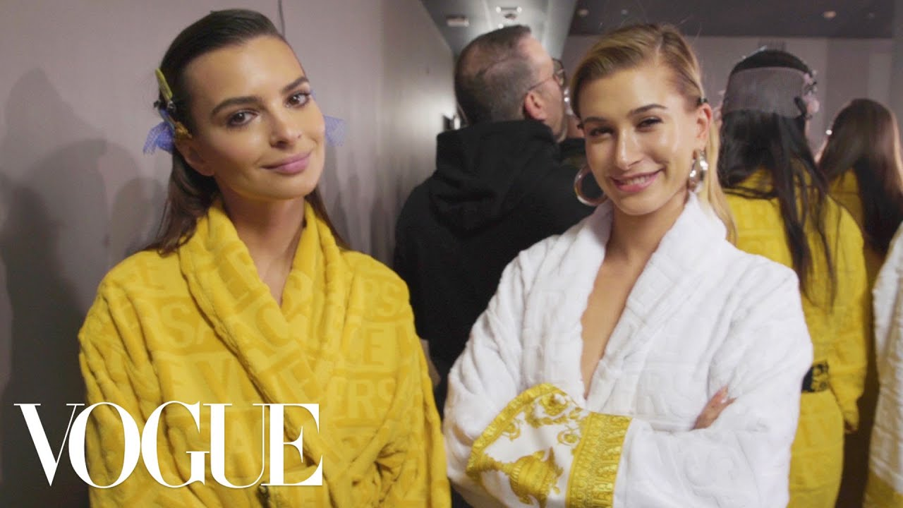 Hailey Baldwin, Gigi Hadid & Emily Ratajkowski Backstage at Versace's Show | Vogue