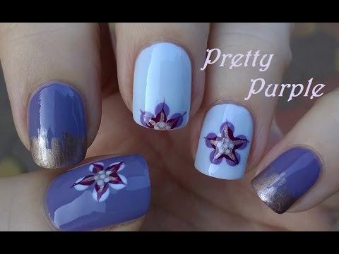 Purple pure blue flower nail art using dotting tool striping purple pure blue flower nail art using dotting tool striping brush sciox Gallery
