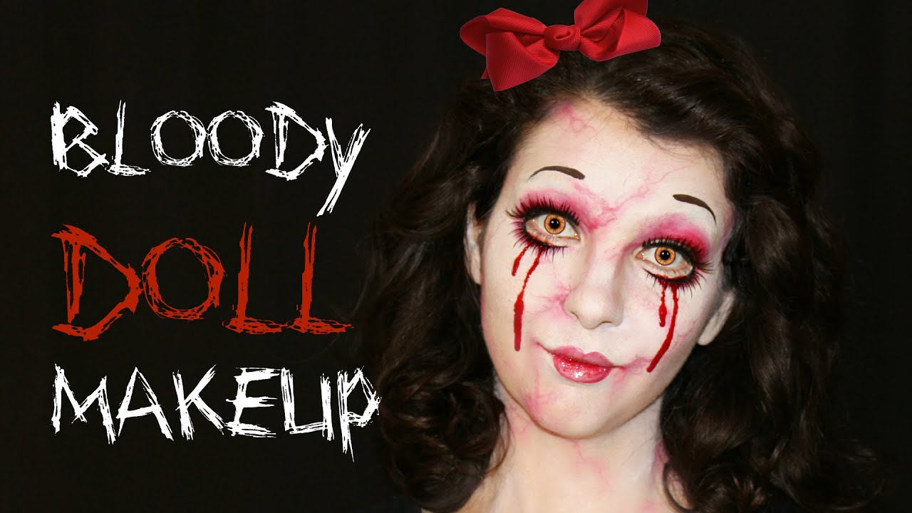 bloody creepy doll — halloween makeup and face painting tutorial