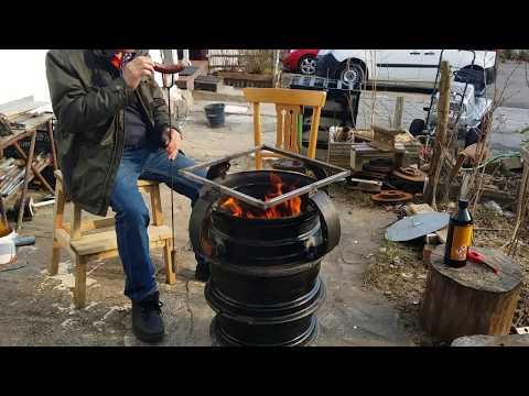 Lò đốt củi. Diy homemade Wood Stove from car rim.