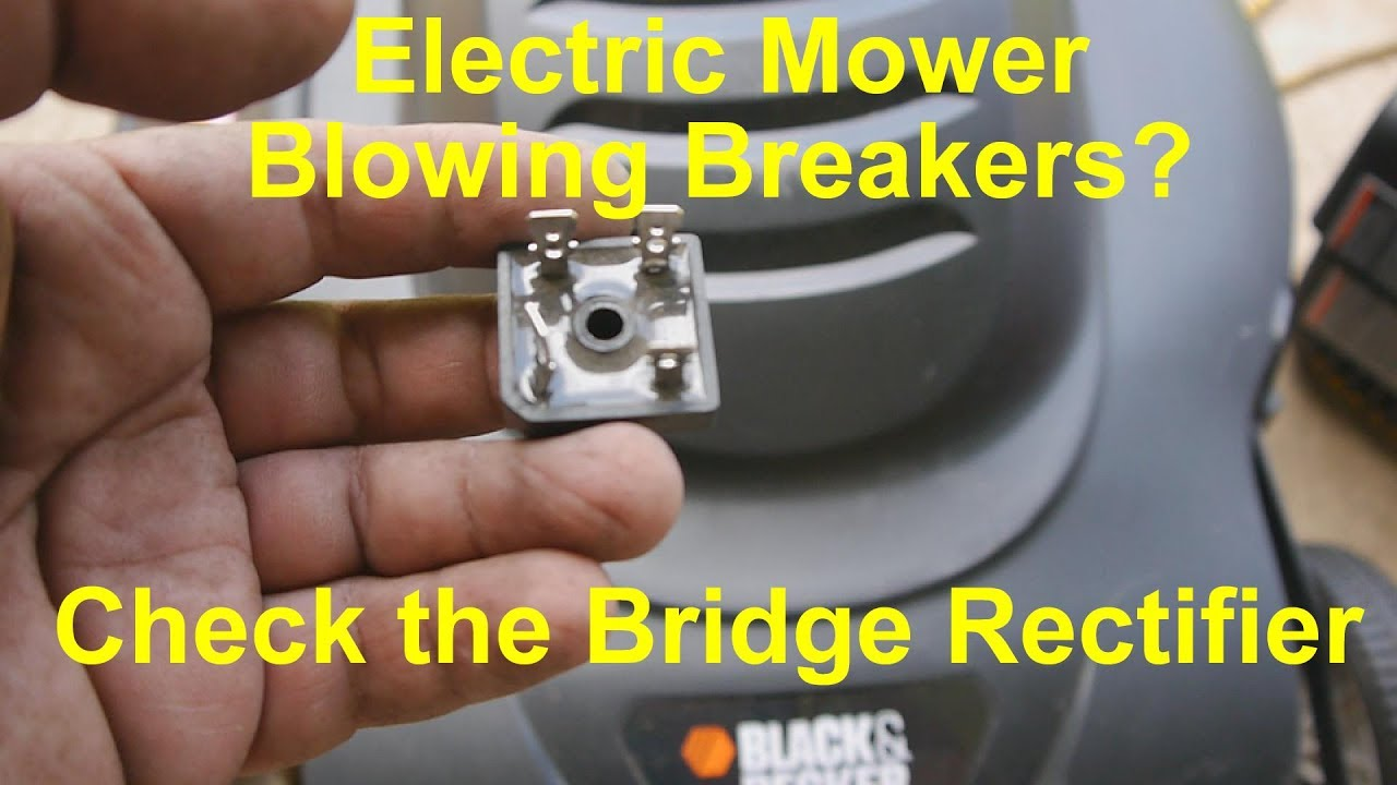 Replacing Bridge Rectifier on Black and Decker electric lawn mower on meyer snow plow wiring diagram, tru cut mower parts diagram, mott flail mower parts diagram, riding lawn mower throttle cable diagram,