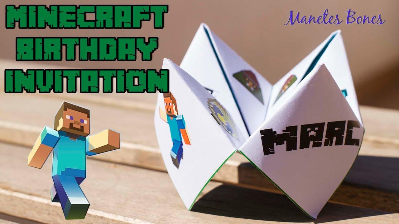 Minecraft Birthday Invitation Invitación De Cumpleaños Minecraft
