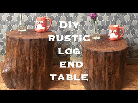 Diy rustic log end table