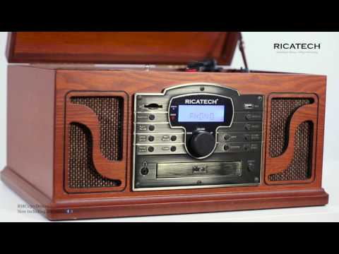 Ricatech RMC250 BT Deluxe 6 in 1 Music Center with turntable, CD, Cassette, radio, line in, USB, SD