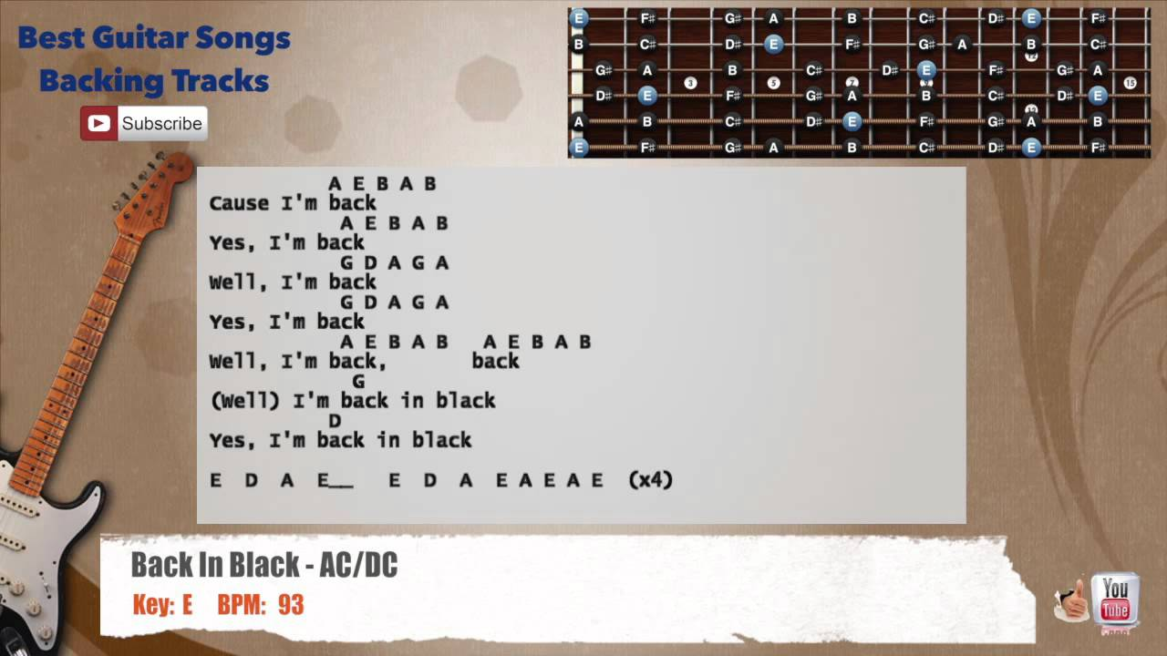 Electric Guitar Chords Back In Black : back in black ac dc guitar backing track with vocal chords and lyrics youtube ~ Hamham.info Haus und Dekorationen