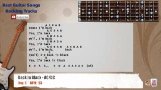 Back In Black - AC/DC Guitar Backing Track with vocal, chords and lyrics