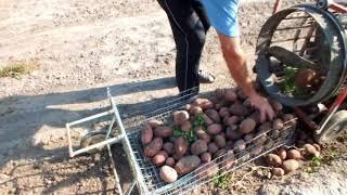 Картофелекопалка барабанного типа к мотоблоку с контейнером для сбора картофеля часть 3.