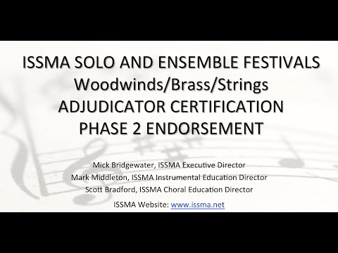 ISSMA District Solo Ensemble Woodwinds Brass Strings Phase 2 Endorsement Training