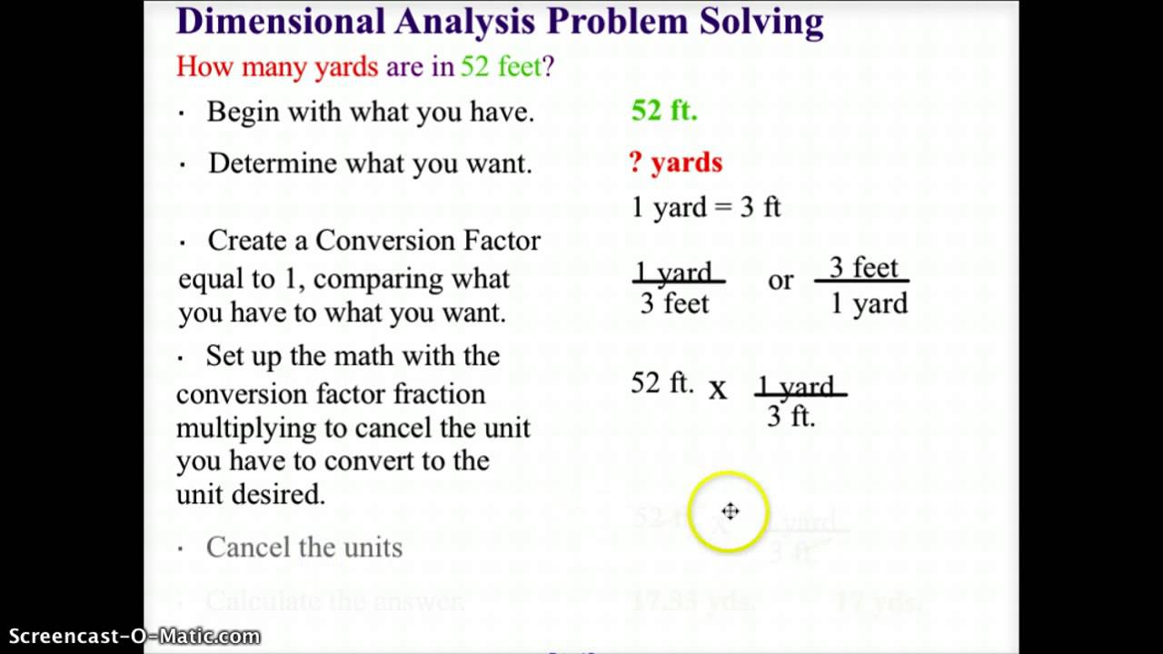 ch chemistry problem solving and dimensional analysis