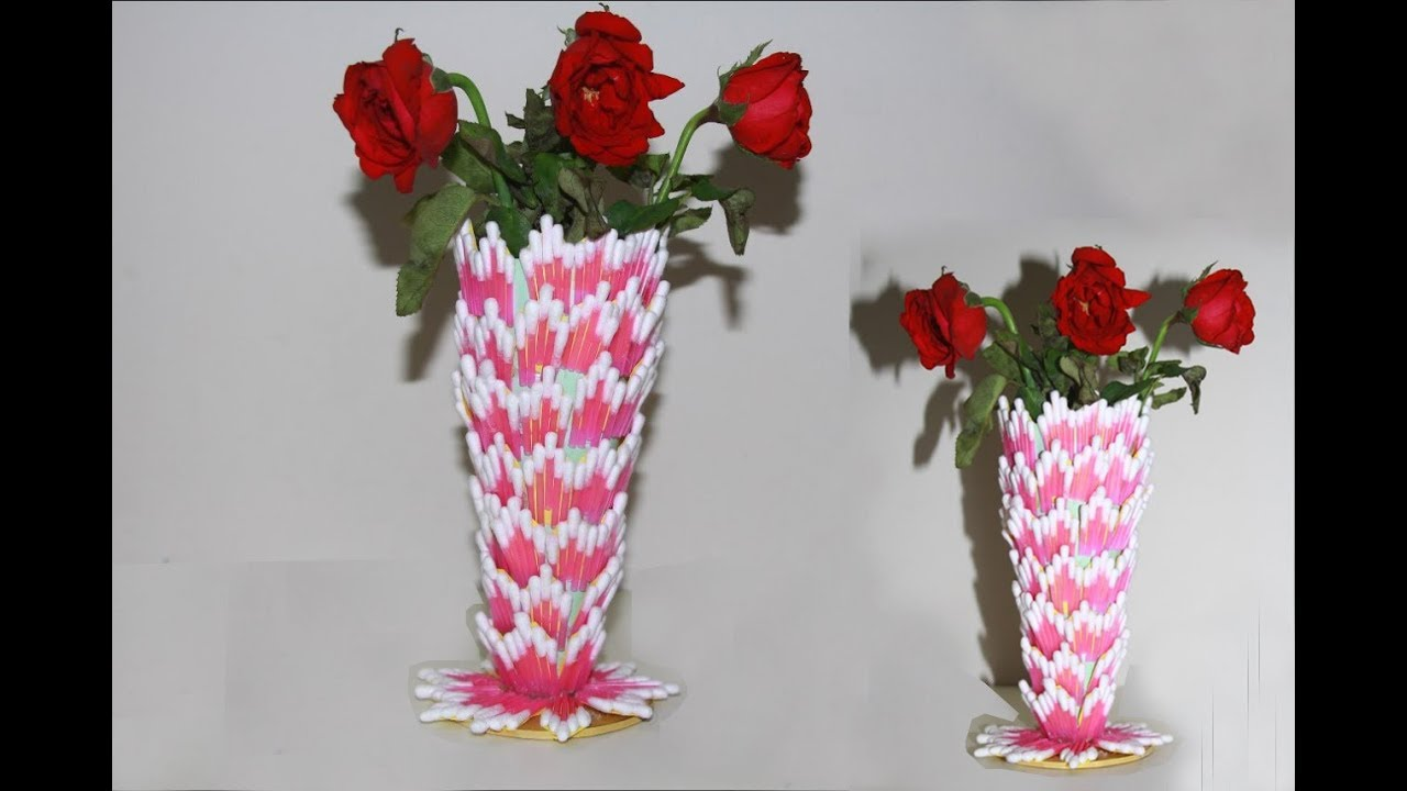 How to make beautiful flower vase with cotton buds amazing room how to make beautiful flower vase with cotton buds amazing room decor ideas izmirmasajfo