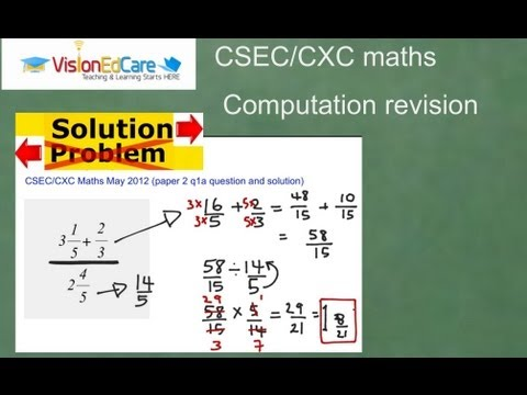 Computation -CXC/CSEC Maths Past Paper questions and solutions