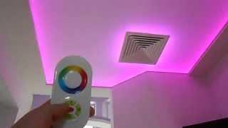Натяжной потолок с LED подсветкой на сенсорном пульте