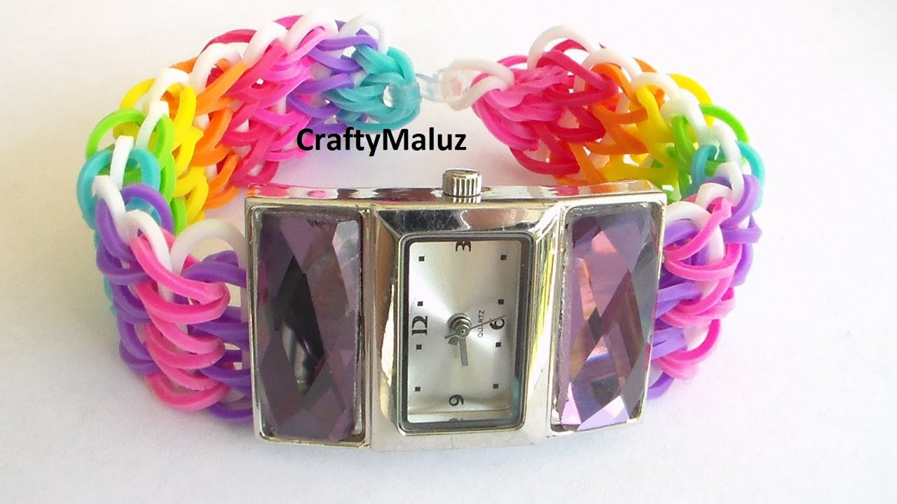 Tutorial rainbow loom watch como hacer una correa de - Reloj decorativo de pared ...