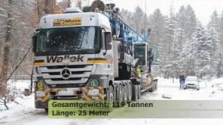 119 Tonnen Schwertransport Wallek Actros V8 bei Traunstein