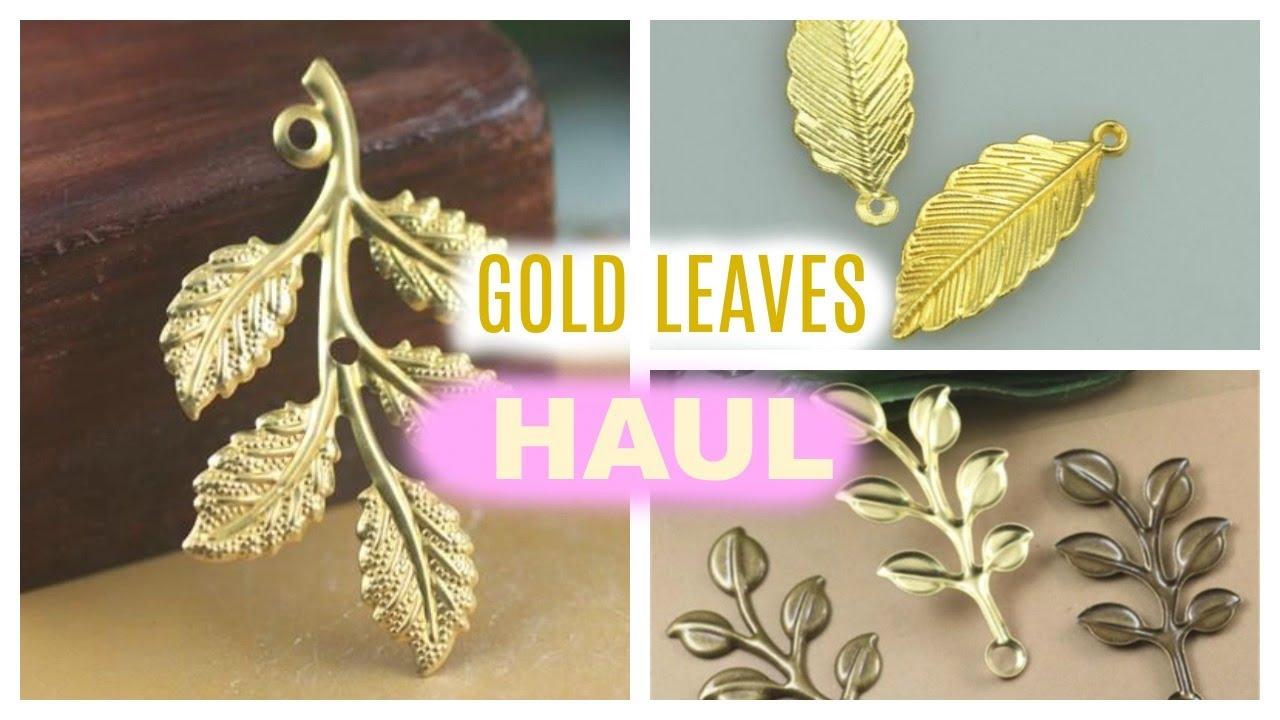CRAFT HAUL - Gold Leaves Jewelry Findings Pendants - DIY Hair Pins, Crown