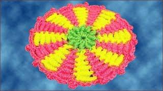 Вязание коврика. Коврик крючком. Витые столбики. (rug, crochet)