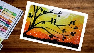 Love Birds Scenery Drawing With Oil Pastel | Landscape Love Birds Drawing | Oil Pastel Drawing