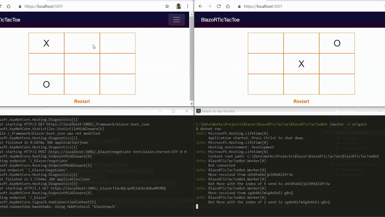 Realtime Blazor Tic-Tac-Toe Game - Bot Vs Multiplayer Using SignalR