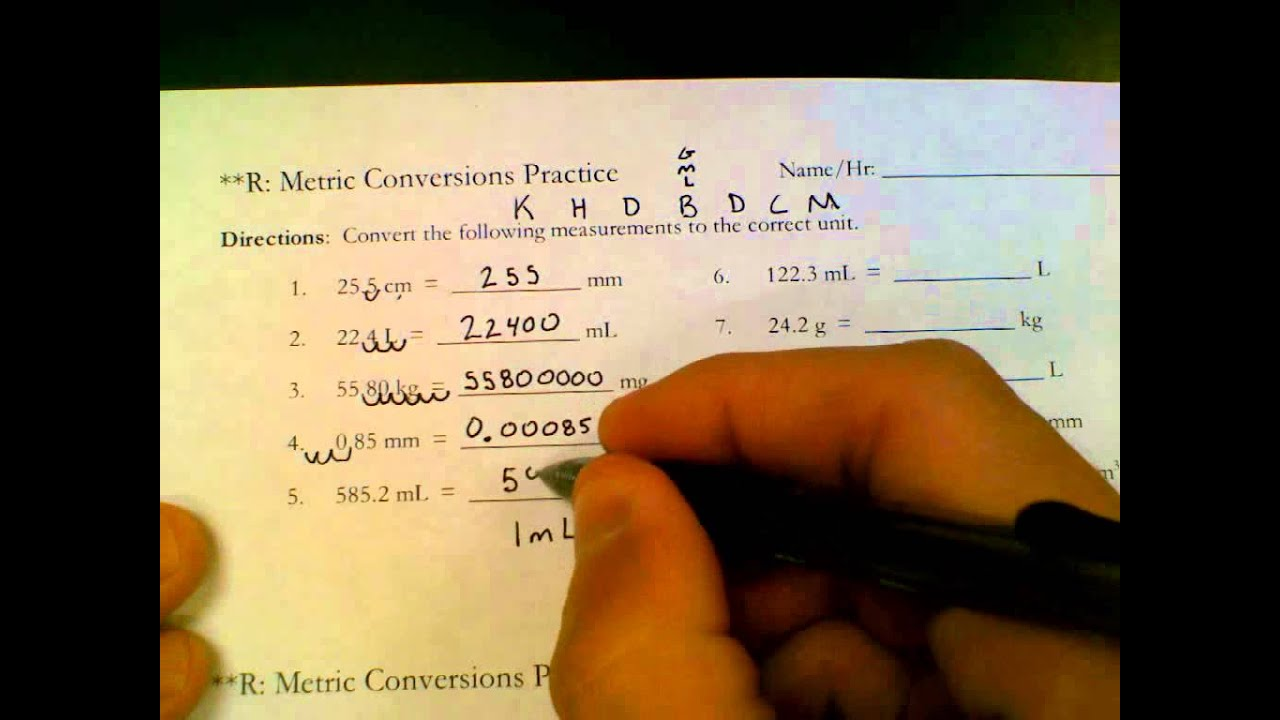 Printables Chemistry Conversion Worksheets With Answers metric conversions practice answer key youtube