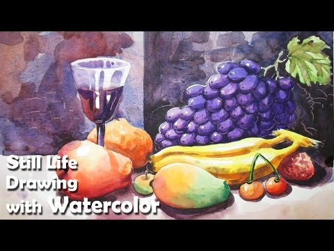 How to Draw A Still Life : Fruits in Watercolor | Step by step