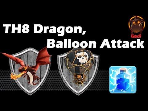 Clash Of Clans - Dragon And Balloon Attack vs TH8 The Turtle Base