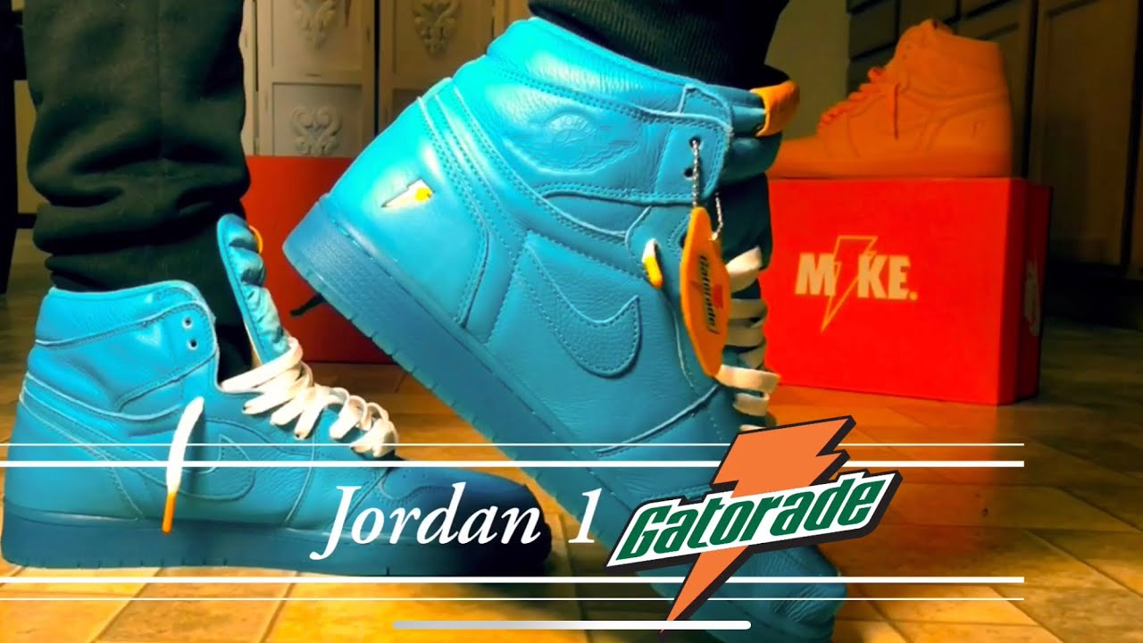 "34a0f0853e1603 Double Jordan 1 Gatorade review ""Blue""   ""Orange"" Plus Epic on foot ..."