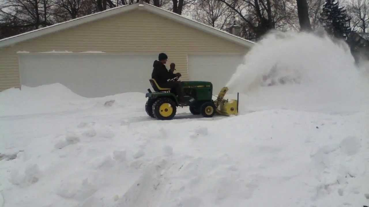 John Deere 318 Snow Blowing With Jd 49 Blower Youtube