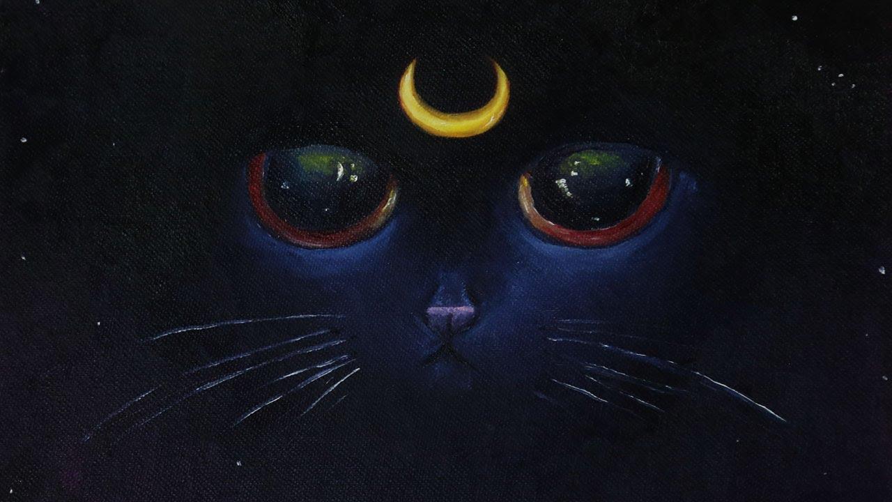 Luna the Night Kitten Painting - Speed Art